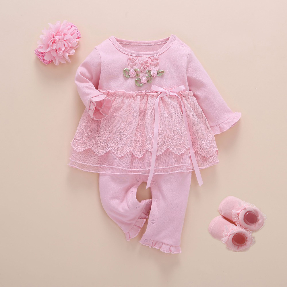Image 4 - Newborn Baby Girl Clothes Fall Cotton Lace Princess Style Baby Jumpsuit 0 3 Months Infant Romper With Socks Headband ropa bebeRompers   -