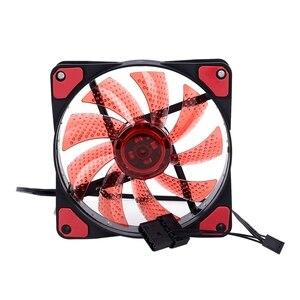 15 огней светодиодный ПК корпус вентилятора чехол радиатор кулер охлаждающий вентилятор DC 12V 4P 120*120*25 мм красный