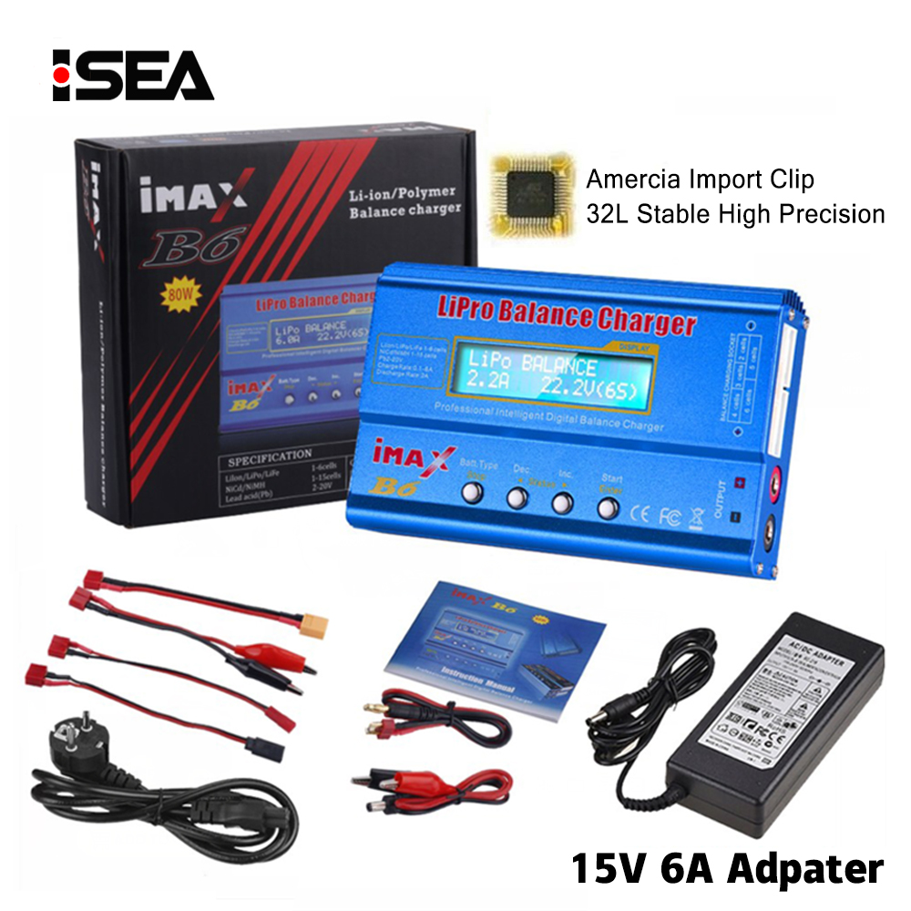 HTRC Battery Charger Adapter Digital Nimh Lipo Imax B6 Li-Ion 80W Ni-Cd 15V 6A title=