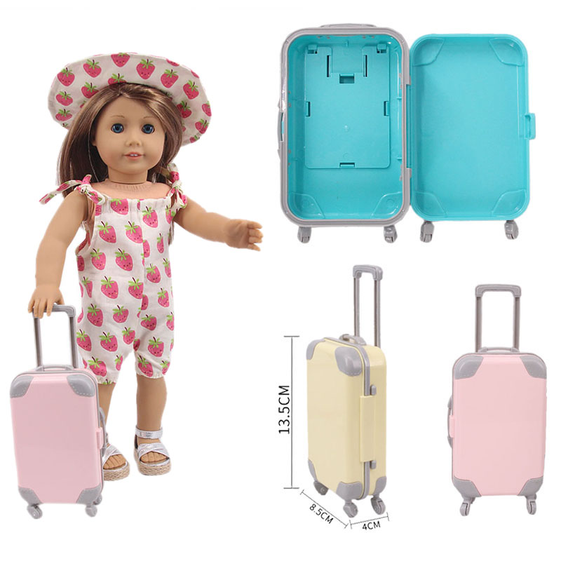 New Anti-Fall Fashion Luggage Fit 18 Inch American 43cm Baby Doll Clothes Accessories,Girls Toys,Generation,Birthday Gift