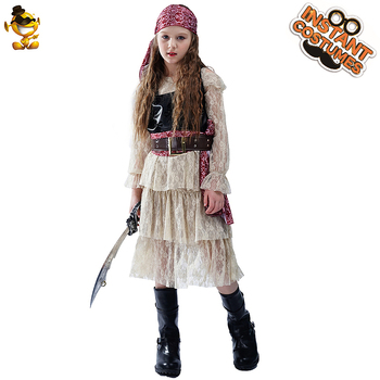 Girls Deluxe Pirate Princess Costume for Kids Cosplay Children Pirate Dress for Halloween Girl Pirate Costume фото