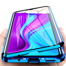 poco x3 nfc case 360° double sided tempered glass metal bumperd magnetic flip case on redmi note 9s 9 pro 9a 9c nfc coque fundas