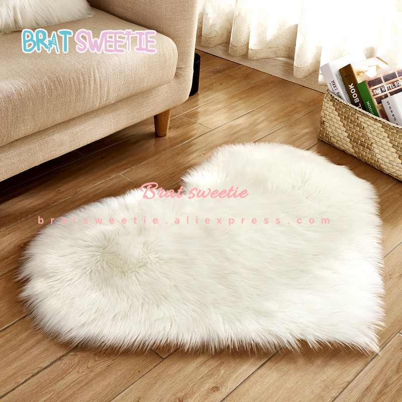 2019 White Plush Christmas Tree Skirt Carpet Love Heart Rugs  Faux Fluffy Mats Decorations For Home  Valentines Day Decor