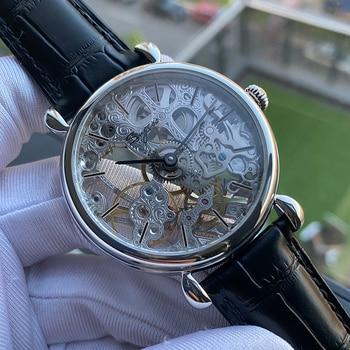 Sugess skeleton men watch hand winding seagull ST36 movement mechanical watch fashion wristwatches leather Sapphire Glass 2020 1