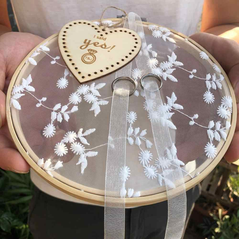 Personalized Wood Lace Round Ring Cushion Bearer Engagement Photo Props Wedding Proposal Marriage Ring pillow