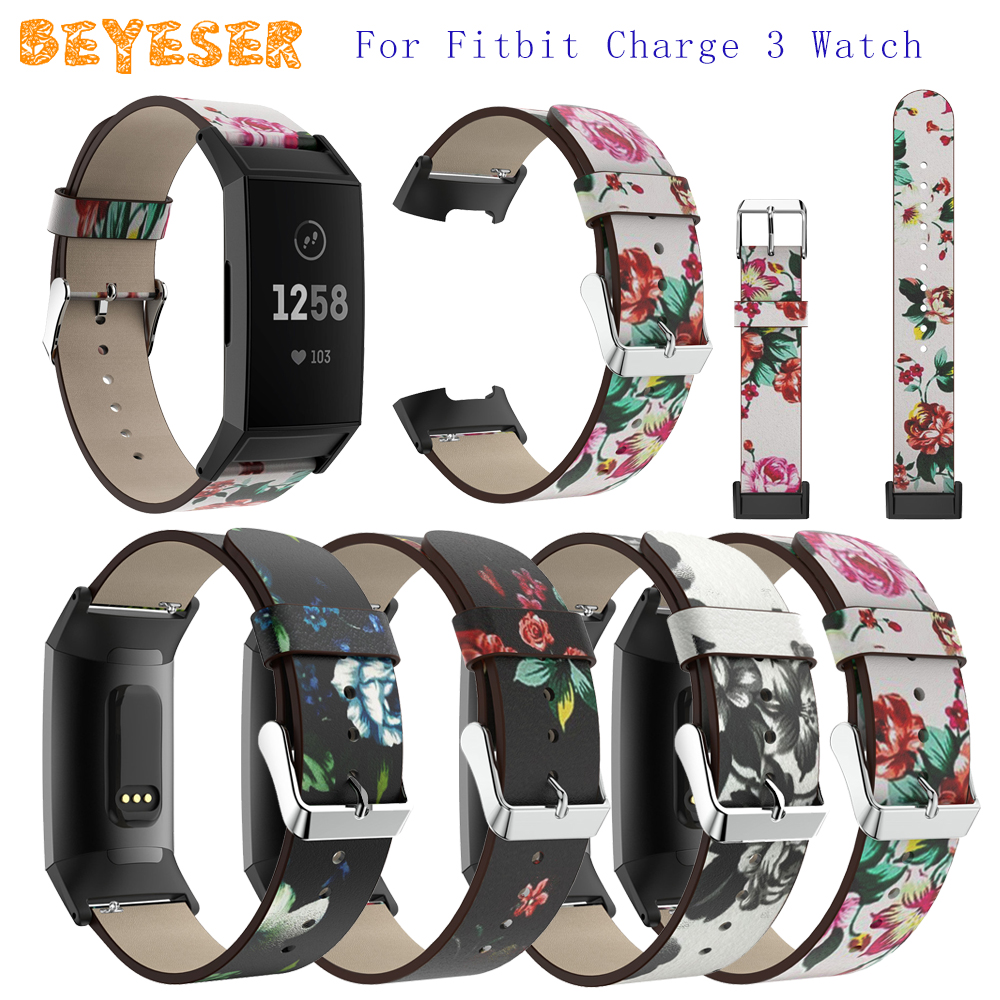 18mm Genuine Leather Printed Strap For Fitbit Charge 3 Watch Accessories Bracelet Replacement For Fitbit Charge 3 Watch Band