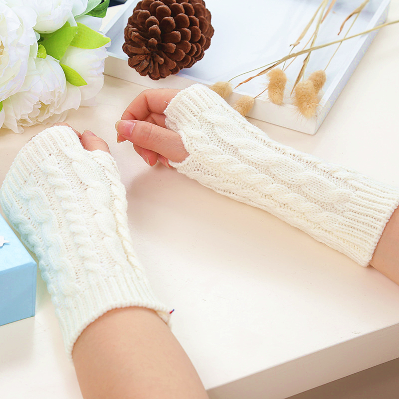 Mitten Fingerless Knit Twist Winter Warm Soft Fashion Warmer Lady Gloves Long Arm Casual Gloves For Women Autumn Drop Shipping