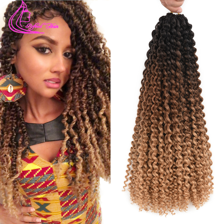Refined Hair Spring Passion Twist Long Black Brown Ombre Braiding Hair Crochet Braids Synthetic Curly Hair For Braid 22roots/pc