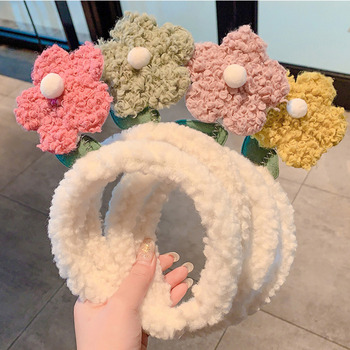 [Xwen] Lamb Floral Women's Hair Accessories Face-washing HairBand Cute All-match Outer Departure Bundle Plush Headband OH1607 image