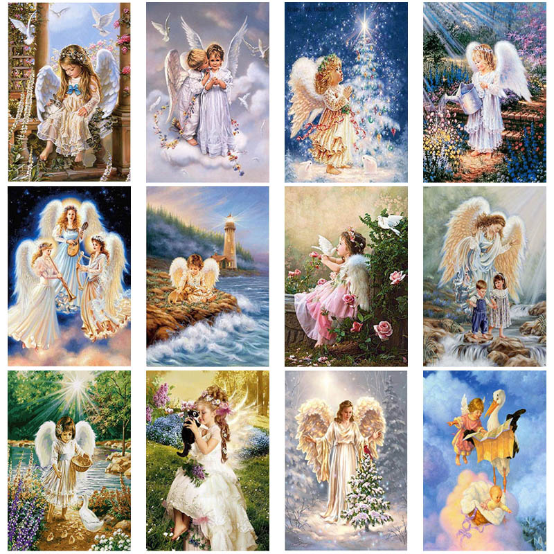 Diy 5d diamond painting angel guarded embroidery cross stitch