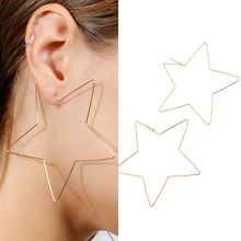 2019 new1 Pair Fashion Big Star Love Heart Earrings Hollow Out Exaggerated Eardrop Minimalist Personality Punk Accessories