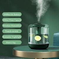 1L Drahtlose Luftbefeuchter Ultraschall Kühlen Nebel Makger Fogger 2000mAh Akku USB Wasser Diffusor mit LED Licht