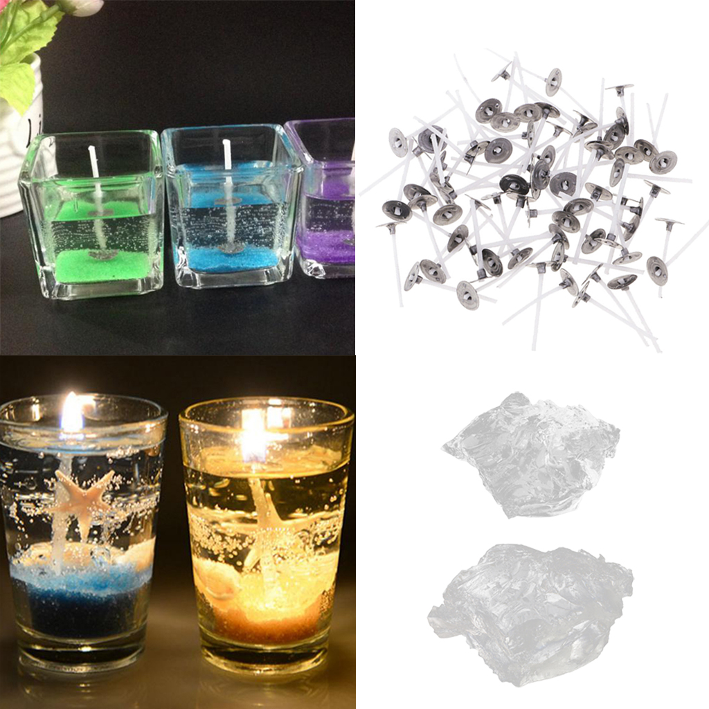 200g High-Quality Clear Fragrance Paraffin Gel Jelly Wax & 100 Pieces Candle Wicks DIY Candle Gift Making
