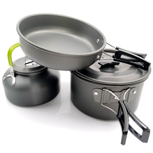 Camping Utensils Dishes Cookware Set Picnic Hiking Heat Exchanger Titanium Alloy Pot Outdoor Tourism Tableware