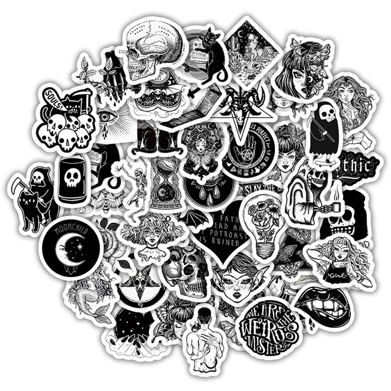 10/30/50Pcs Retro Gothic Wind Stickers Black White Girls Skull Sticker For Laptop Luggage Car Motorcycle PVC Decal Toys Sticker