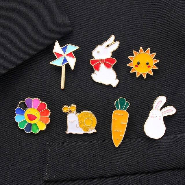 Nouveau dessin animé lapin escargots plante fruits soleil carotte broche émail broche métal Badge broches pour femmes filles bijoux accessoires