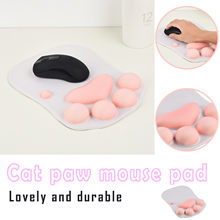 Almofada do rato 3d com suporte de pulso gato pata de silicone macio apoios de pulso almofada de pulso alfombrilla de ratón com garra de gato 3d