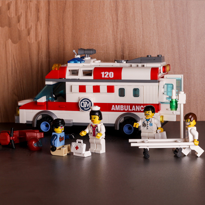 Kids Love 328pcs Ambulance Car Legoed Model Building Blocks Field Armies Cannon Small Particles Bricks Children Enlighten Toys