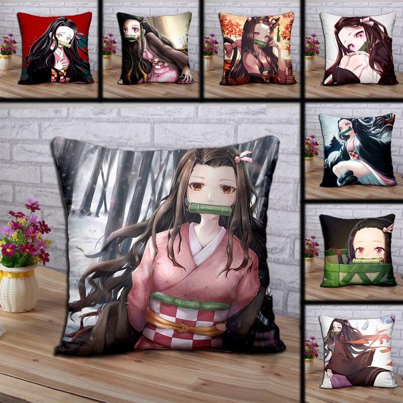 Devil Killer Polyester Pillowcase Printing Anime Decoration Pillowcase  Home Bedroom Hotel Car Decoration Pillowcase 45x45cm .