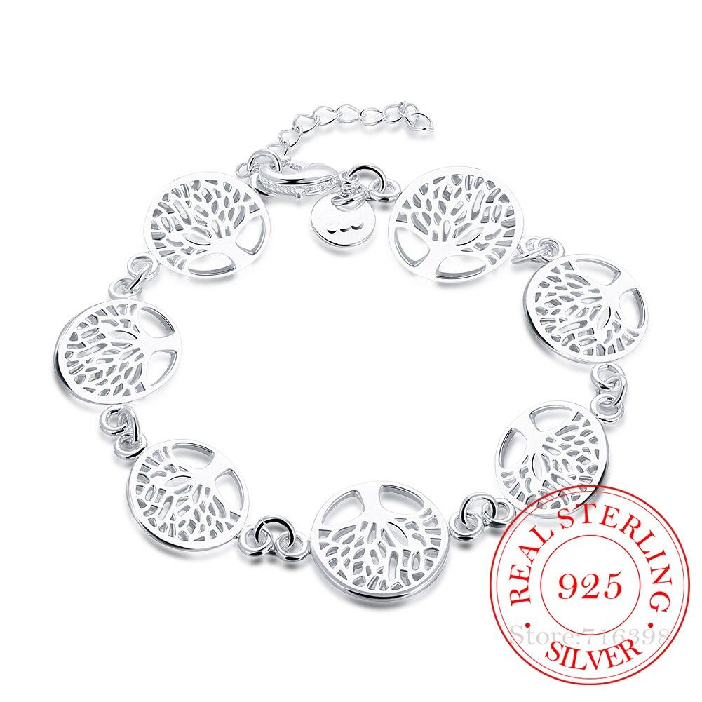 Женские изящные ювелирные изделия Древо жизни из стерлингового серебра 925 пробы, браслеты и подарочные браслеты на день рождения Гибкие и жесткие браслеты    АлиЭкспресс