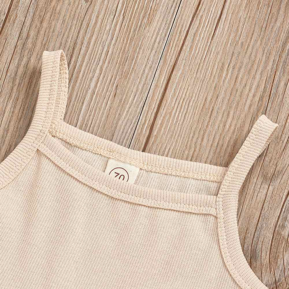 Asual örgü nervürlü iki parçalı Set yenidoğan kızlar için yaz giysileri kolsuz kırpma üst + pantolon kıyafet bebek giysileri 4 renk