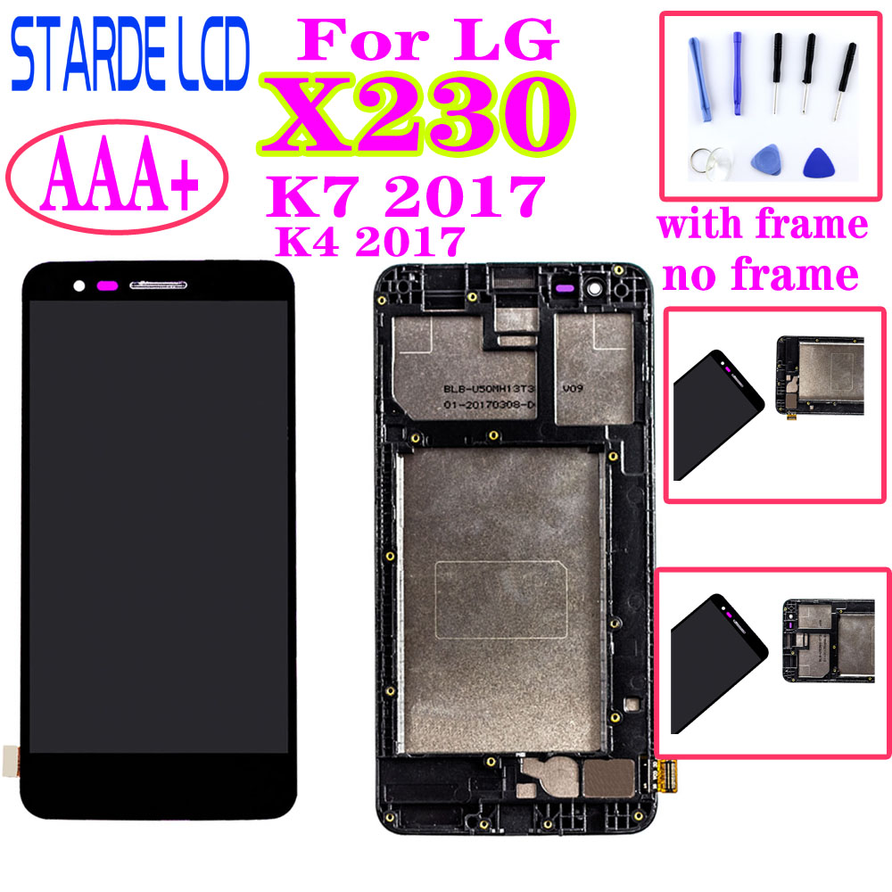 For <font><b>LG</b></font> K4 2017 <font><b>X230</b></font> <font><b>LCD</b></font> Display Touch Screen Digitizer with Frame Assembly or <font><b>LCD</b></font> No frame for K7 2017 <font><b>X230</b></font> image