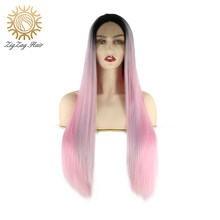 ZigZag Black Ombre Light Pink Glueless Synthetic Lace Front Wig for Black Women Long Straight Heat Resistant Fiber Middle Part(China)