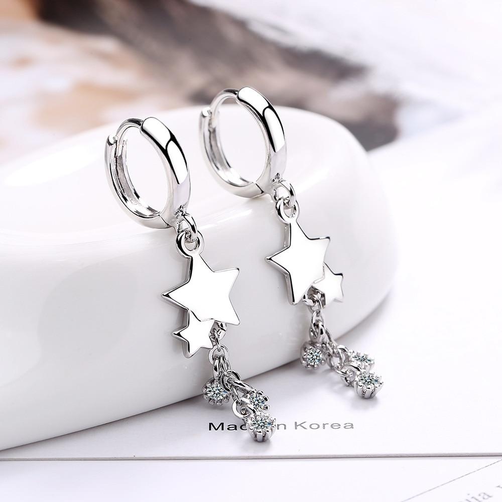925 Sterling Silver Crystal Tassel Star Charm Korean Drop Earring For Women Wedding Statement Jewelry eh604