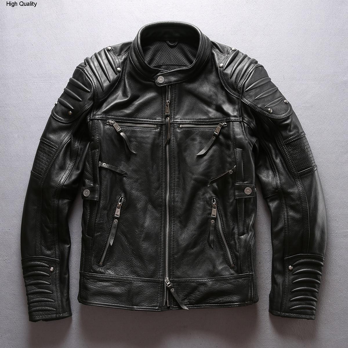 2020 Fashion Brand Men's Professional Motorcycle Leather Jacket Men Stand Collar Cow Leather Coat Men Moto Biker Jacket Male