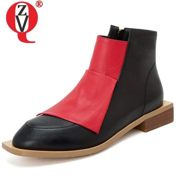 ZVQ winter ankle boots cow leather women's flats shoes 2019 winter autumn plush Mixed color red yellow Outdoor walking shoes