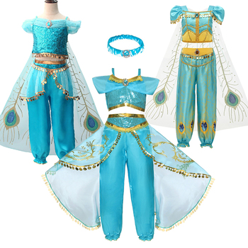 Girls Jasmine Costume and Wig Headband  Kids Christmas Carnival Birthday Party Dress Children Cosplay Clothes Accessories girls jasmine costume and wig headband kids christmas carnival birthday party dress children cosplay clothes accessories
