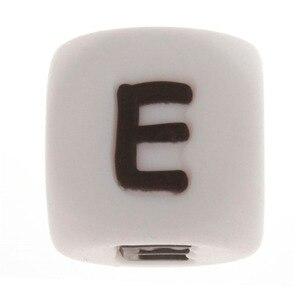 Image 4 - 500PCS Brief 12mm Silikon Zahnen Alphabet Perlen Cube Bpa Frei Baby Mundpflege Halskette Armband Zubehör Beißring Fütterung