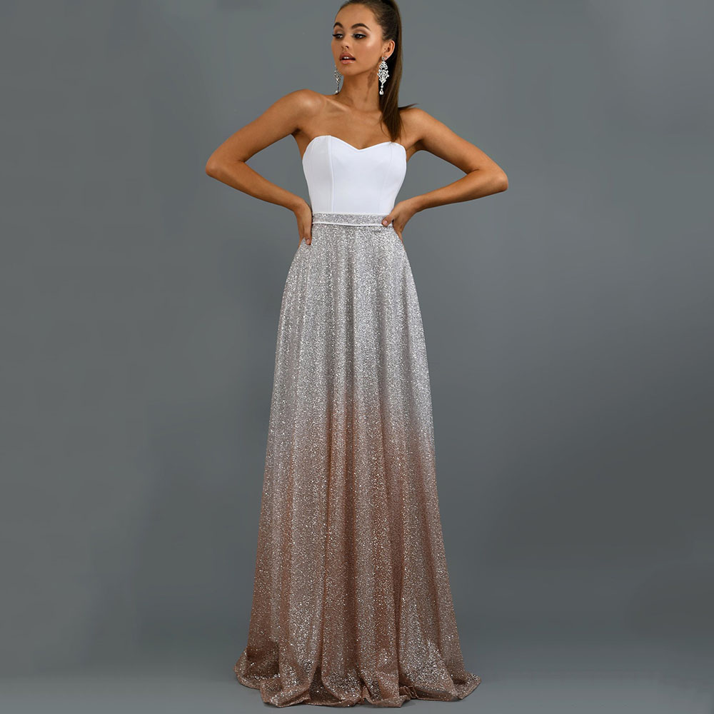 Dressv Grey Strapless Elegant Evening Dress Sleeveless Sequins Floor Length A Line Wedding Party Formal Evening Dresses