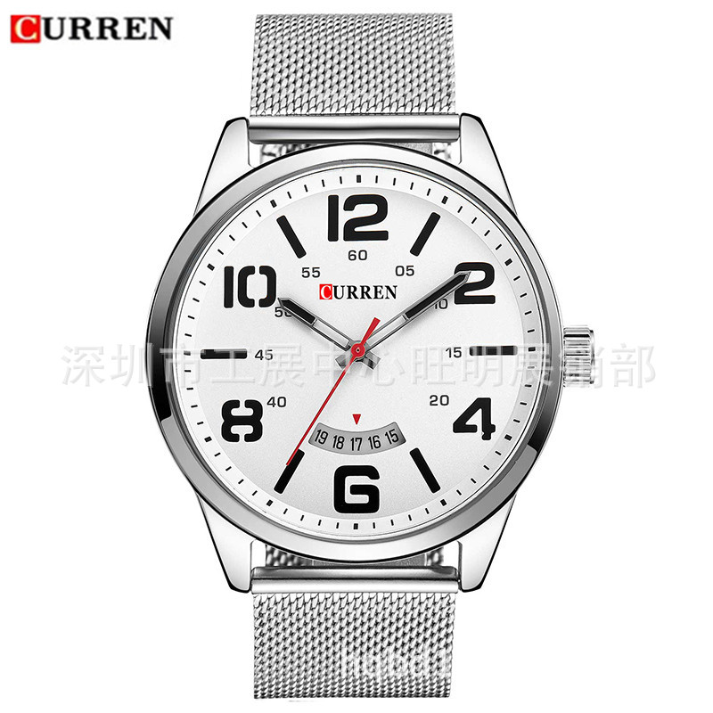 Curren/Karui En 8236 Waterproof Quartz Mesh Belt Watch Unisex Popular Business Big Dial Watch