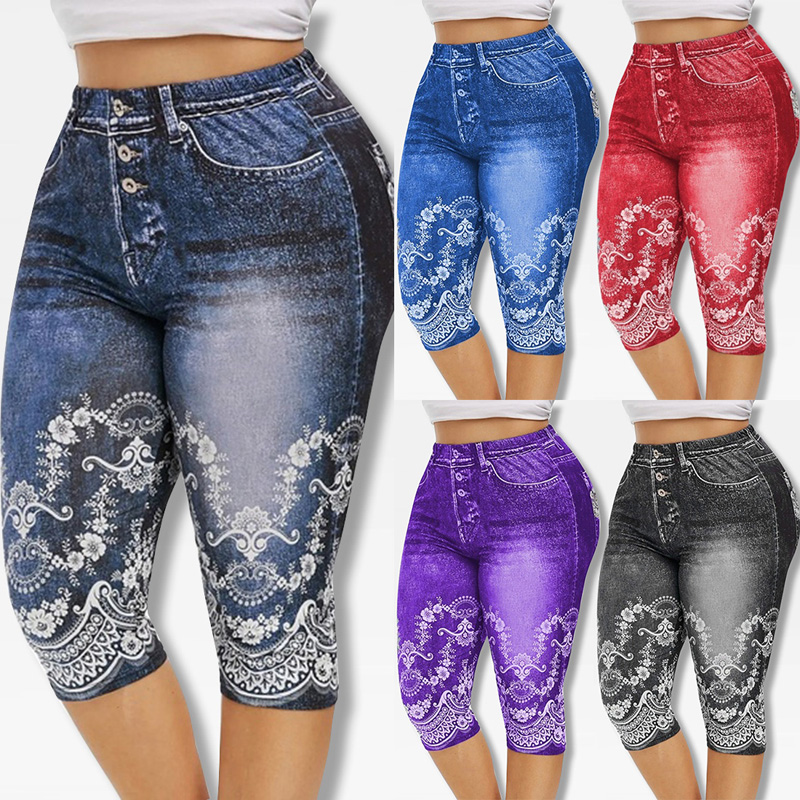 Printed False Denim Yoga Pant 3\4 Women Jeans Leggings High Waist Breeches Capri Pants Super Elastic Jeggings Plus Size 5XL