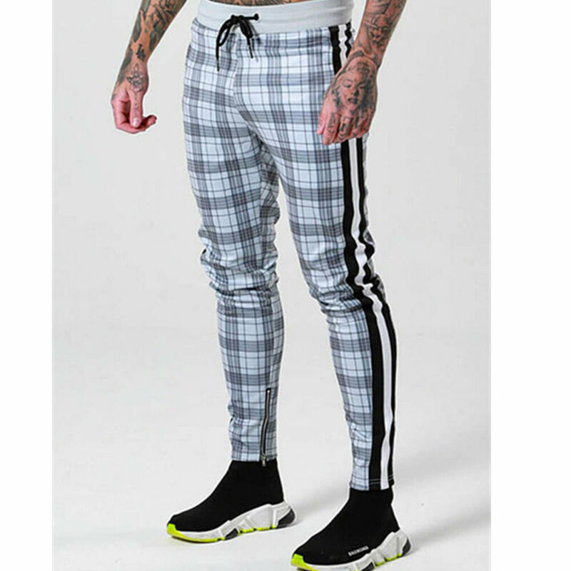 2019 New Mens Slim Fit Tracksuit Sport Gym Skinny Jogging Joggers Sweat Pants Plaid Trousers