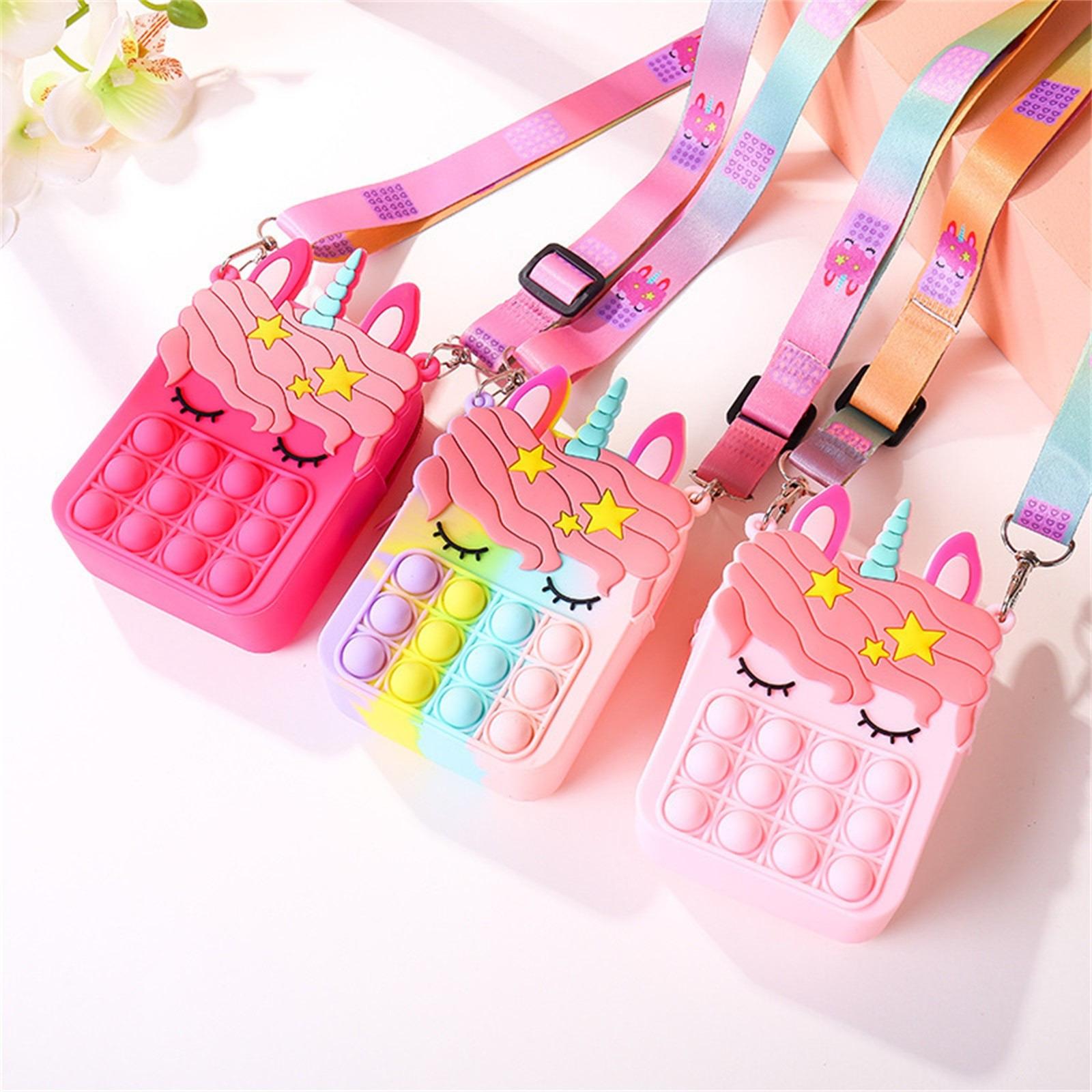 Fashion pop It Push Bubbles Toy Rainbow Unicorn Kawaii Coin Purse Children Wallet Ladies Bag Silica Gel Simple Dimple Fidget Toy