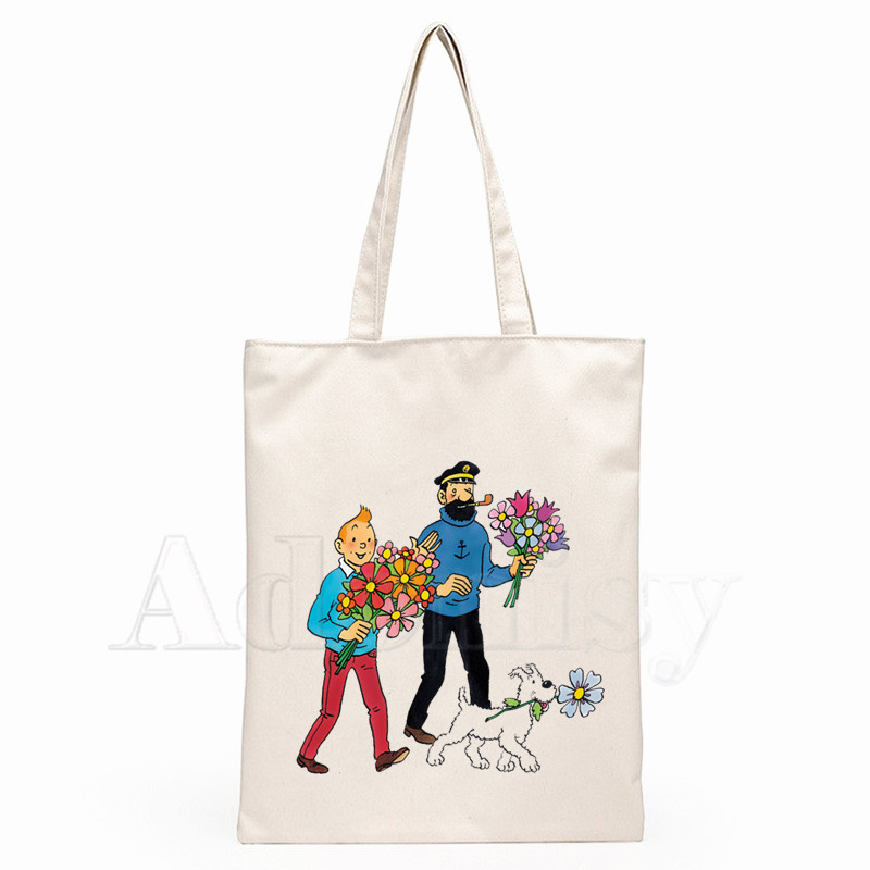 Tintin  Women Female Foldable Canvas Shoulder Bag Canvas Tote Eco Shopping Bag Canvas Tote Bag Casual HandBag Daily Use