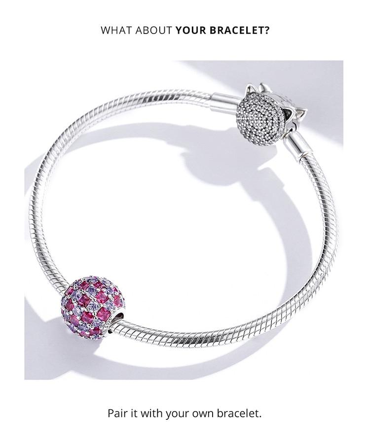 charm bracelet 925 Sterling Silver Shining Light Ball Charms Round Beads fit Original Bracelet & Bangle Women Luxury Brand Jewelry