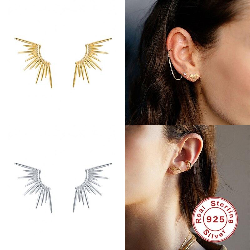 EINDOSER Ohrringe Für Frauen Echt 925 Sterling Silber Persönlichkeit Linie Sonnenstrahlen Stud Ohrringe Zirkon Koreanische Schmuck Aretes De Mujer