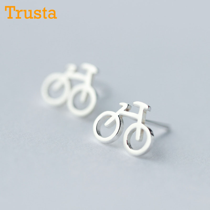 Trusta 100% 925 Sterling Silver Women Jewelry Fashion Cute Tiny 10mmX8mm Bicycle Stud Earrings For Daughter Girls DS64