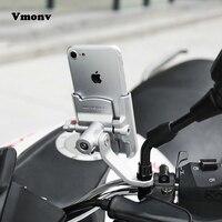 Vmonv Motocicleta Alumínio Guiador Suporte Do Telefone Móvel de Carregamento Para o iphone X Espelho Retrovisor Universal USB Charger Stand Mount