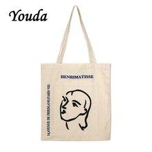 Canvas Bag Tote Shoulder-Bag Shopping-Handbag Printed Youda Korea Fashion Ladies Classic