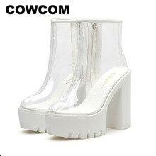 COWCOM bottes transparentes pour femmes, chaussures transparentes, talon épais, talons hauts et ronds étanches, semelle blanche, DF jz750 1