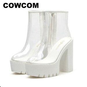 Image 1 - COWCOM bottes transparentes pour femmes, chaussures transparentes, talon épais, talons hauts et ronds étanches, semelle blanche, DF jz750 1