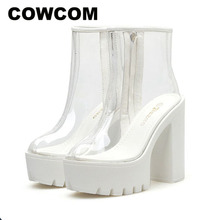 Cowcom 19 女性クリアブーツ透明白底防水プラットフォーム太いヒールハイヒールラウンド卵ブーツ靴DF jz750 1