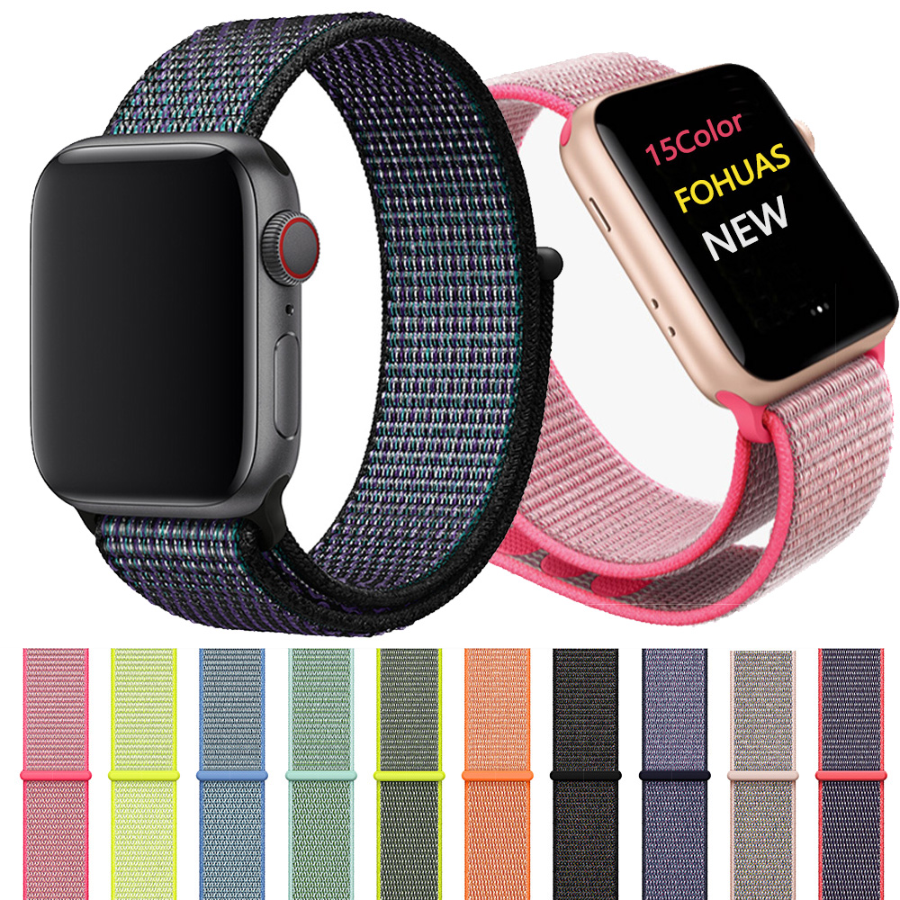 Woven Nylon Strap For IWatch Apple Watch Sport Loop Bracelet Fabric Band 38mm 42mm Apple Watch Band 1 2 3 4 40mm 44mm Watchband
