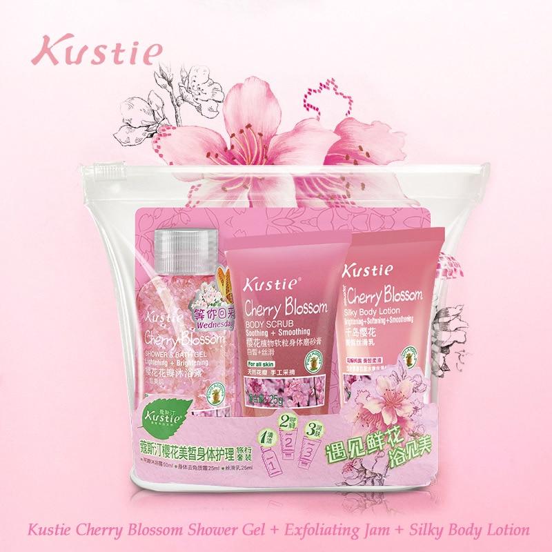 Kustie Cherry Travel Set Hydrating Products 50ml Shower Gel + 25ml Body Exfoliating Gel + 25ml Body Lotion Natural Bath Set