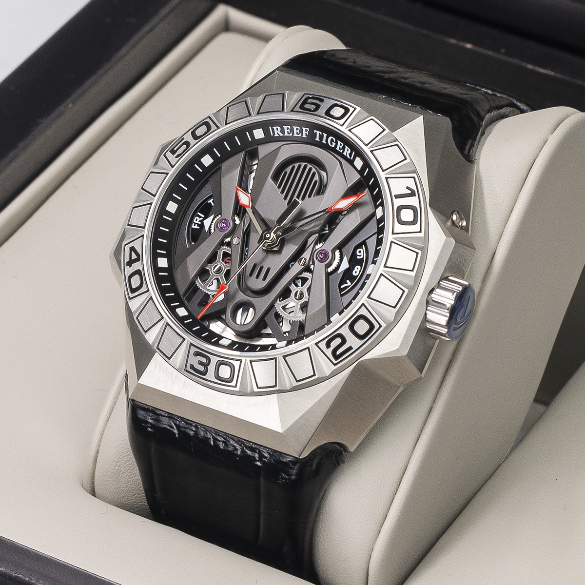 Reef Tiger/RT Top Brand Men Sport Watches Automatic Skeleton Watch Steel Waterproof Leather Strap Relogio Masculino RGA6912 2