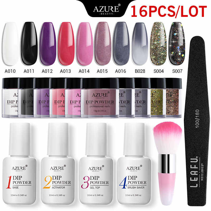 Azure Beauty 16Pcs/Lot Grey Color Dipping Powder Nail Art Colorful Glitter Dip System Powder Holographic Nail Dust Base Top Set